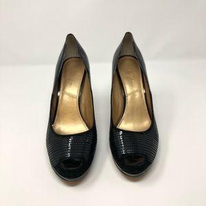 Tahari Peep Toe Black Sequined Pumps Size 9.5